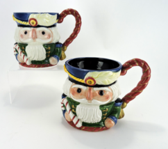 Fitz & Floyd Christmas Nutcracker Mugs Set of Two Hand Painted Figural 1992 - $19.99