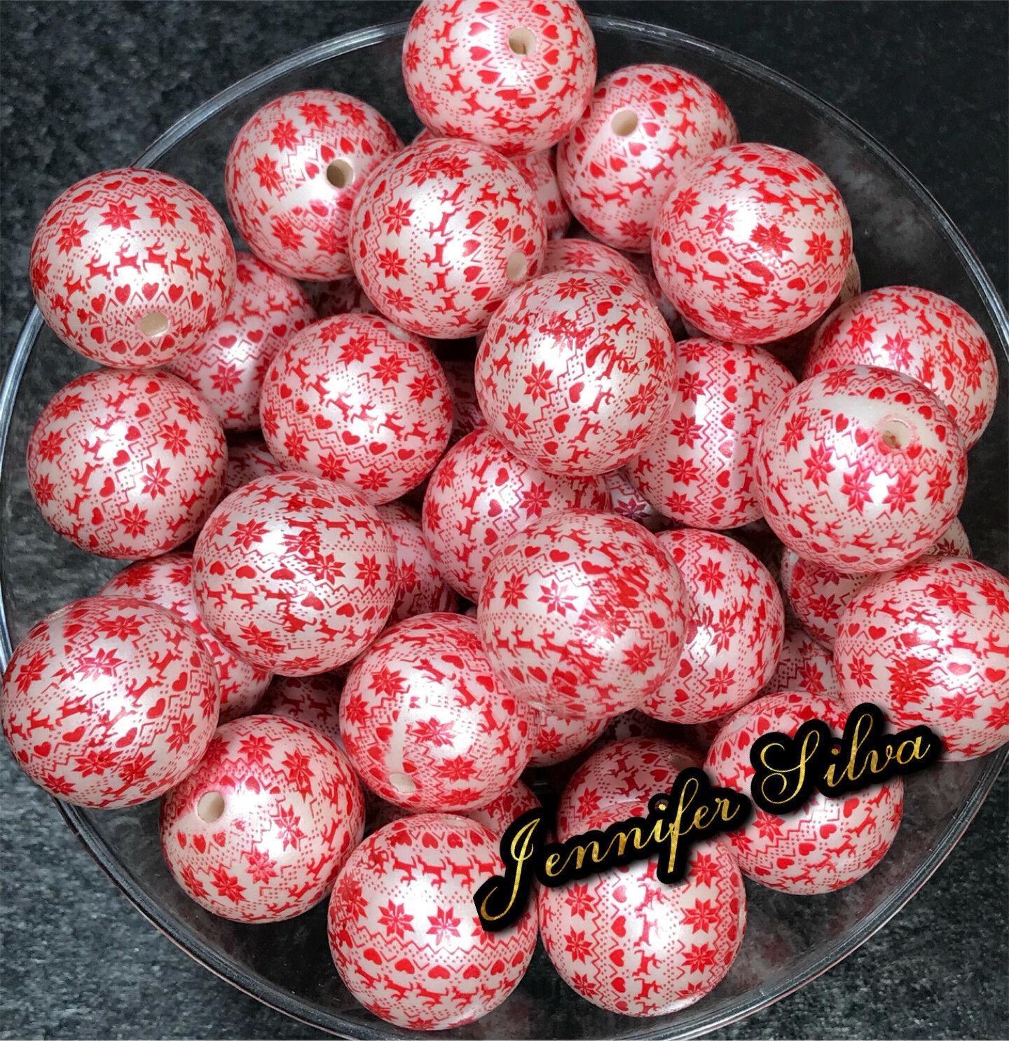 Christmas Printed Matte Chunky Bubblegum Beads 20mm