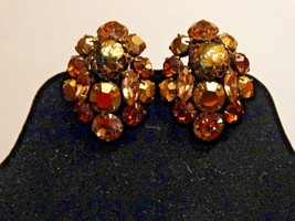 Vintage Cluster Clip Earrings Faceted Amber Tone Rhinestone Crystals - $13.49