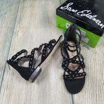New Sam Edelman sz 6M black Daya studded suede zip on back sandal MSRP $120 - $50.00
