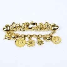 Trifari Love Pin Brooch Dangling Charms Flower Ladybug Smiley Face Heart - $18.57