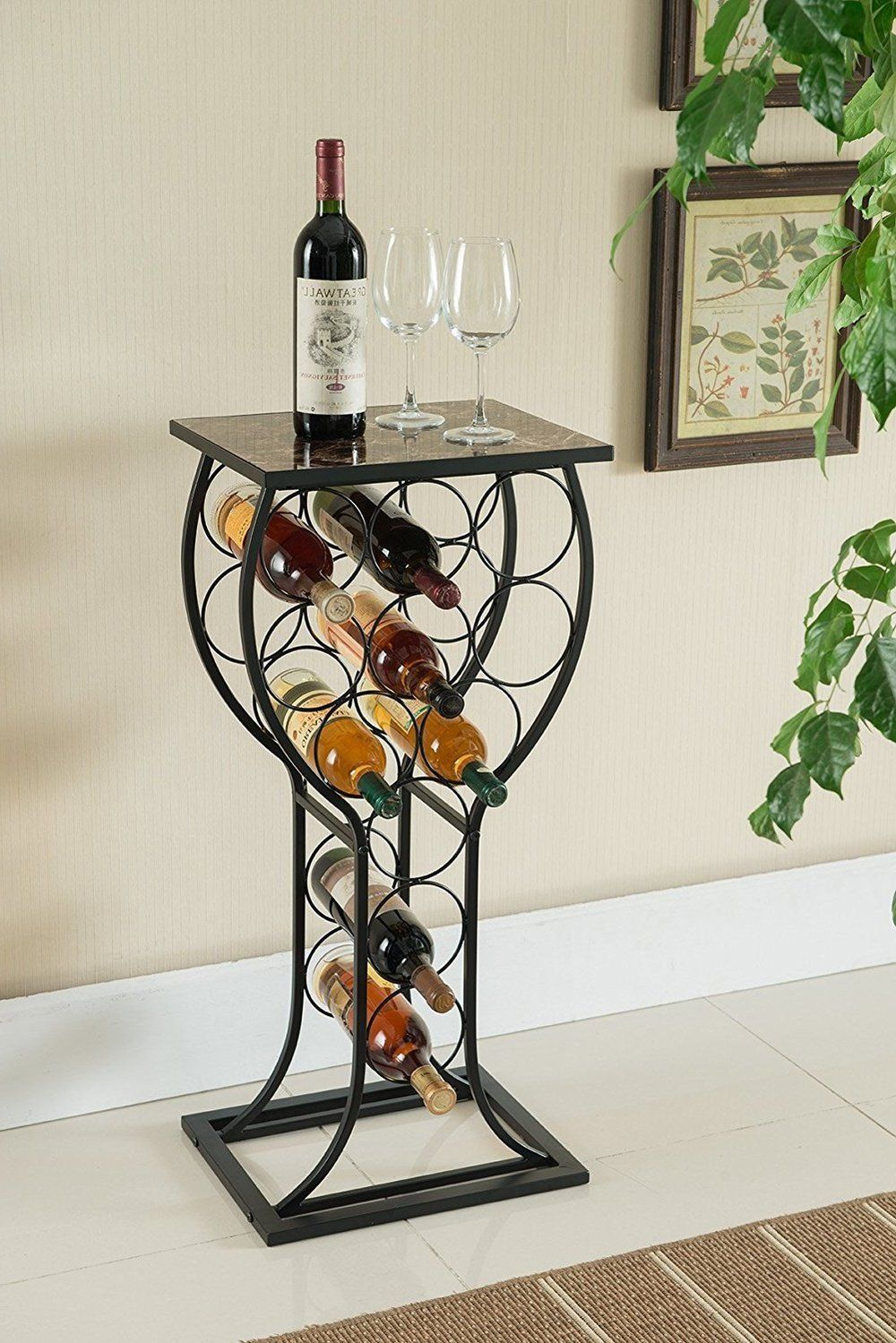 Primary image for Wine Bottle Storage Table bar metal display rack organize marble top glass shape