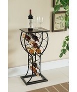 Wine Bottle Storage Table bar metal display rack organize marble top gla... - $79.99