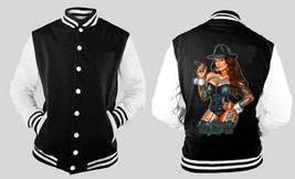 Sexy Gangsta Girl With Cigar Letterman Varsity Baseball Fleece Jacket - $28.70