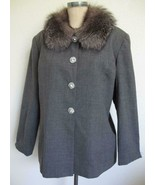 Lily & Taylor Jacket 16 Fox Fur Trim Gray Wool Suiting Rhinestone Button... - $59.99