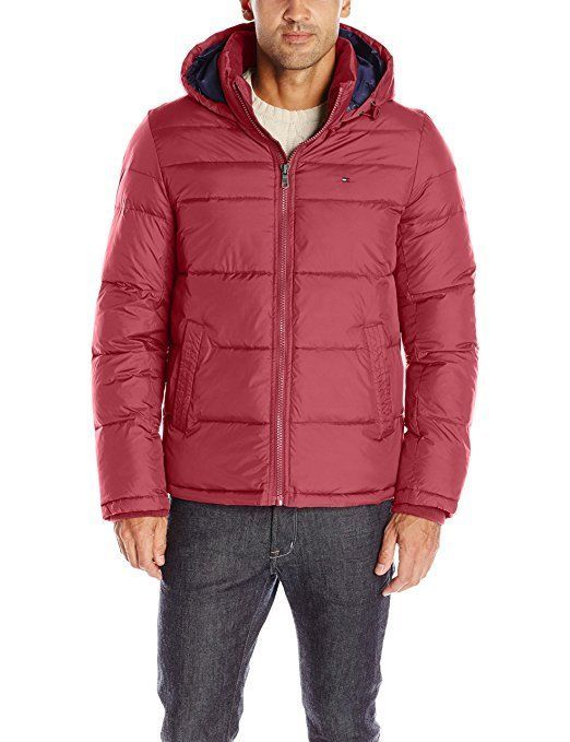 Primary image for Tommy Hilfiger Men's Insulated Midlength Quilted Puffer Jacket W/ Fixed Hood