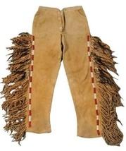 Men's New Native American Tan Buckskin Buffalo Suede Hide Bead Fringe Pa... - $179.10+