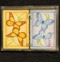 Double Deck Stancraft Butterfly Plastic Coated Playing Cards 2 Sets Gold... - $9.50
