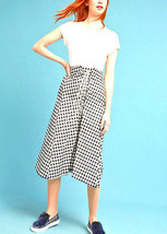 Lace-Up Gingham Black and White Skirt Medium Petite Anthropologie - $97.99