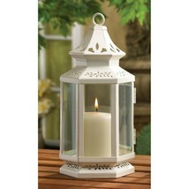 24 White Victorian Design Candle Lanterns w/ Clear Glass Medium Size 10.... - $337.95