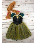 Disney Frozen Anna Costume Coronation Gown Wig Dress Up Girls S 4-6X Hal... - $33.35