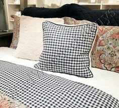 Pottery Barn Mini Gingham Sherpa Pillow Cover Navy Blue 18 sq Checked - $35.50