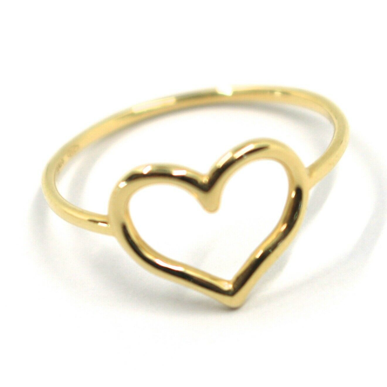 SOLID 18K YELLOW GOLD HEART LOVE RING, 10mm DIAMETER HEART CENTRAL MADE IN ITALY
