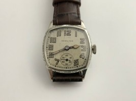 1927 Hamilton Mens Cushion Wristwatch 987 Runs Well Vintage Original Hands - $470.25