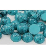 9mm Blue Turquoise H601 Acrylic Round Marble Cabochon High Quality 50PCS - $4.80