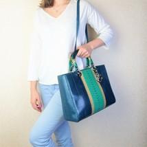 Dior Limited Edition Blue Python Lady Dior Large Shoulder Bag - $3,081.08