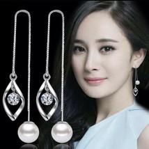 NEW 925 Sterling Silver Twisted Zircon Threader Long Tassel Earrings [EA... - $11.83