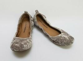 Lucky Brand Shoes Ballet Flats Crushed Velvet Gray Eleesia Size US 7.5 E... - $44.50