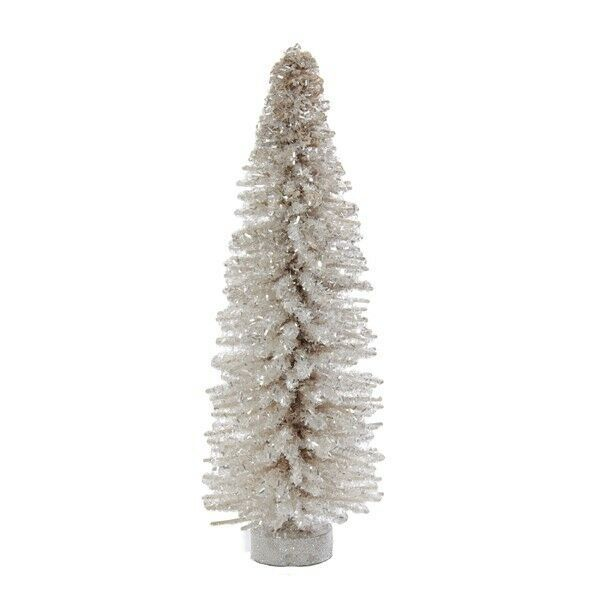 "Primary image for KURT ADLER 12"" MINIATURE WHITE GLITTER WOOD STICK CHRISTMAS TREE w/ROUND BASE"
