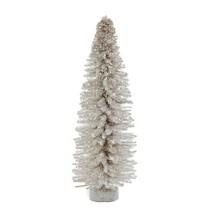 "Kurt Adler 12"" Miniature White Glitter Wood Stick Christmas Tree w/ROUND Base - $9.88"