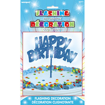 Unique Party Flashing Birthday Cake Decoration - Blue - $8.89