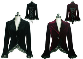 Victorian Goth Velvet Lace Trim Jacket Spring Fall Blazer Coat Black Bur... - $64.32