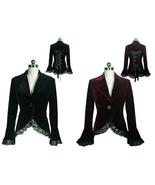 Victorian Goth Velvet Lace Trim Jacket Spring Fall Blazer Coat Black Bur... - $64.32