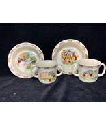 4 Piece Vintage Royal Doulton BUNNYKINS 1936 Bowl & Double Handled Mug - $50.48