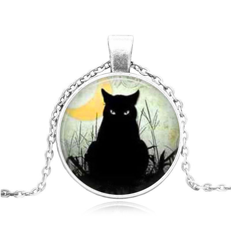 Primary image for  BLACK CAT STARES CABOCHON NECKLACE >>    WE COMBINE SHIPPING   (1643)