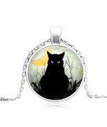BLACK CAT STARES CABOCHON NECKLACE >>    WE COMBINE SHIPPING   (1643)  - $3.71