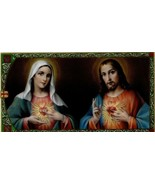 2 Cards - Spanish Sacred Hearts of Mary and Jesus Prayer Card Religious ... - $3.99