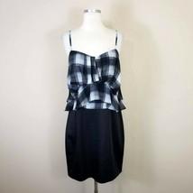 BCBG MaxAzria Silk Plaid Ruffle Top Dress Size 8 Spaghetti Strap - $19.99