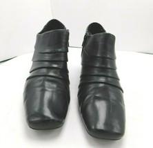 """Liz Claiborne Womens Ankle Boot Shoes 9M Black Heels 2 1/2"""" Zipper - $10.68"""