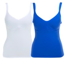 Rhonda Shear Everyday Molded Cup 2 Pack Camisole in Blue/White, Large - $34.64