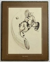 VTG 1975 Wallace Berrie Hotshots Tennis The Serve Wood Wall Hanging Picture - $24.45
