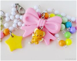 Cardcaptor Sakura Kero Chan Necklace, Pink Bow Pendant, Pastel Rainbow C... - $35.00