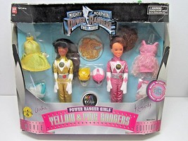1995 MIGHTY MORPHIN POWER RANGERS THE MOVIE GIRLS YELLOW & PINK DOLLS BA... - $22.50