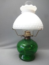 Vintage Oil Lamp Green Milk Glass Hobnail Shade Globe Lighting - $26.64