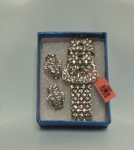 Rhinestone Buckle Stretch Bracelet With Matching Rhinestone Buckle Earrings - $34.65