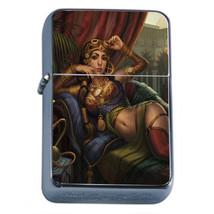 Harem Pin Up Girls D4 Flip Top Oil Lighter Wind Resistant With Case - $12.82