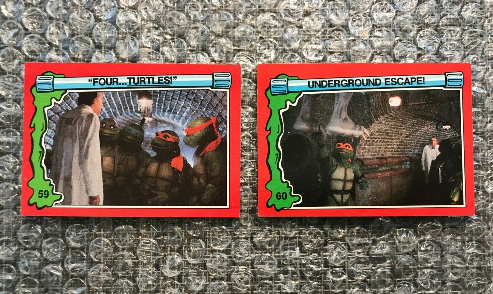 1991 Topps Teenage Mutant Ninja Turtles TMNT II Movie Cards Lot: #59 & #60 - $3.92