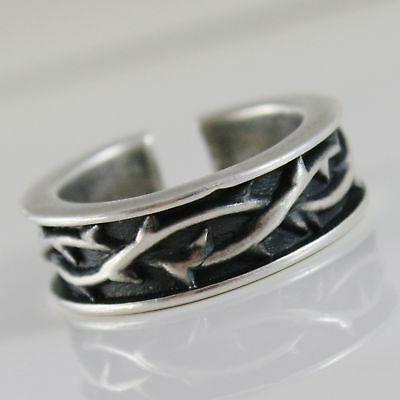 Ring aus Silber 925 Brüniert A Band mit Krone von Dornen und Größe Einstellbar
