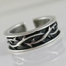 Ring aus Silber 925 Brüniert A Band mit Krone von Dornen und Größe Einstellbar image 1
