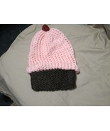 Handmade Knitted Pink Cupcake Infant Winter Hat Cap CUTE - $9.90