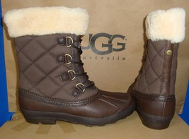 UGG Australia NEWBERRY Brown Waterproof Leather Quilted Boots Size 6 NIB #3224 - $115.78