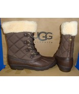 UGG Australia NEWBERRY Brown Waterproof Leather Quilted Boots Size 6 NIB... - $115.78