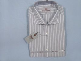 NEW $145 Hickey Freeman Dress Shirt! 16.5 35  *White with Gray Stripes* 454 - $69.99