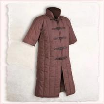Medieval Brown Turtleneck Short Sleeve Padded Canvas Gambeson Tunic Batt... - $117.95
