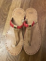 ugg australia Bria Braid Top post Thong Flat Sandals Shoes 9 Dark Corral... - $47.52