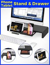 Foldable Monitor Stand Riser, Computer Laptop Riser Shelf with Organizer Drawer, image 4